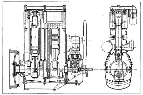 Sezione del motore dell'autocarro Lancia Ro, costruito nei primi anni Trenta su licenza Junkers. C'è un solo albero a gomiti con due manovelle per ogni cilindro