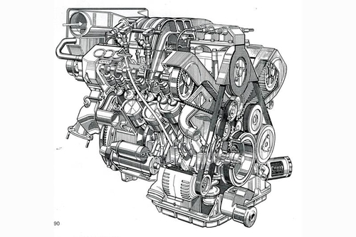 La tedesca Audi ha affrontato il tema del motore V6 all'inizio degli anni Novanta con questa realizzazione monoalbero a due valvole per cilindro e angolo di 90° tra le due bancate