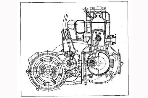 La maggior parte delle DKW degli anni Trenta era azionata da un motore bicilindrico raffreddato ad acqua di tipico schema motociclistico, come quello qui mostrato in sezione