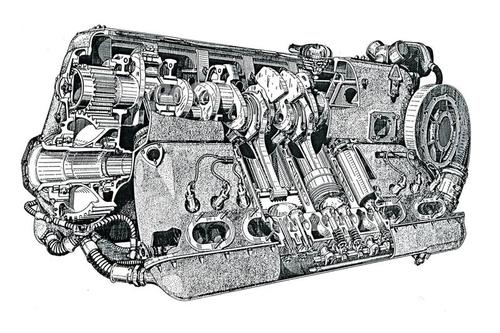 Tutti i grossi motori aeronautici degli anni Trenta e Quaranta adottavano un compressore centrifugo, quasi sempre comandato meccanicamente. Uno è ben visibile in questo spaccato di un Daimler Benz 601 a 12 cilindri a V invertito