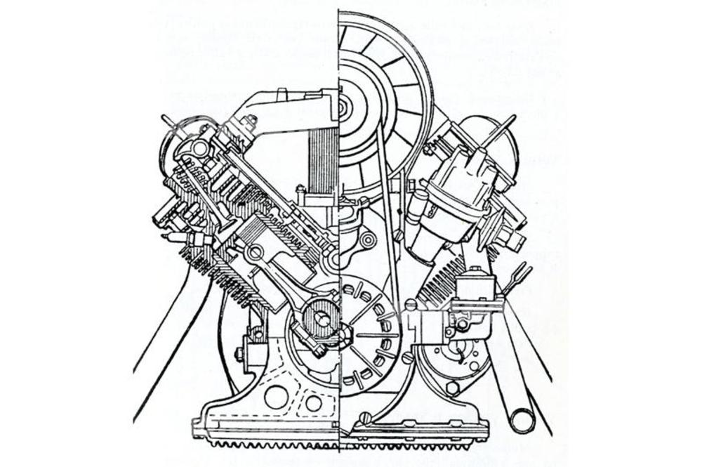 La Zaporozhets ZAZ 965 era azionata da un motore a quattro cilindri a V di 90°, raffreddato ad aria e con distribuzione ad aste e bilancieri, la cui semplice struttura è ben osservabile in questa sezione